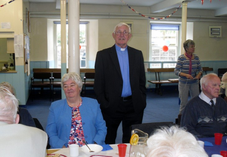 rev brian and mary mavers after morning worship  jubilee lunch